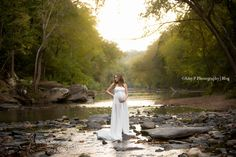 This creek was such a beautiful location in Mountain Brook to take these Maternity photos! This white gown went perfectly with the rocks and overall background! Newest addition is a baby girl!