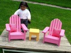 Adirondack Lawn Chairs and Side Table Outdoor Furniture for American Girl Doll or 18-inch Doll. $100.00, via Etsy.