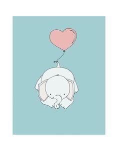 11x14 Elephant Nursery Art Print Nursery by SweetMelodyDesigns, $20.00 Elephant Balloon, Elephant Nursery Art, Cute Baby Elephant, Art Wall Kids, Art For Kids, Wall Art, February Baby, Nursery Decor, Nursery Room