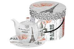 Paperproducts Design Paris Fleur de Lis Ephemera Tea for One Set Tea For One, My Tea, Paris Home Decor, Teapots Unique, Little Paris, Beverage Napkins, Teapots And Cups, Tea Service, Cute Mugs