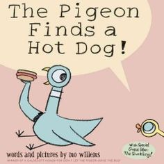 Tuesday, February 18, 2014. Pigeon learns about sharing when a curious duckling keeps asking questions about the hot dog Pigeon has found.