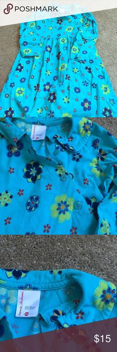 Hannah Anderson floral blue courdaroy dress 120 Beautiful little floral courdaroy dress . Size 120 Hannah Anderson size 8 Hannah Anderson Dresses Casual