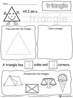 shapes,triangle shape,drawing shapes,shape sides,shape name,tracing shapes,tracing,kindergarten printables,preschool printables,kindergarten math,preschool math,preschool worksheets,triangle