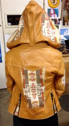 Indian Blanket and Leather Moto Hoodie. Women's by KiyoteofBigSur, $600.00