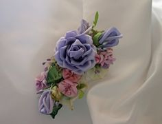 Accessory Hair Clip Ribbon Work Applique Wedding Pin RibbonWork Lavender Rose with Rosebuds and Pink Flowers Vintage Stamens