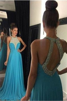 Ice Blue Prom Dress,Sexy Open Back Party Dress,Beaded