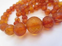 Antique Victorian Amber Faceted Beads Round by LeapingFrogDesigns