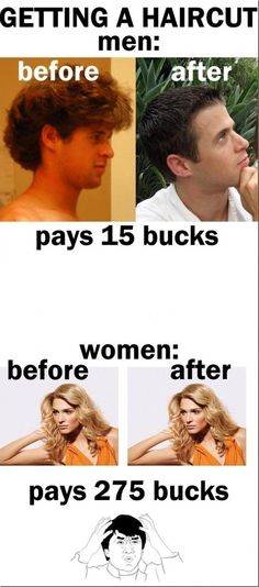 LOL - Getting a Haircut  Men Vs Women - www.funny-pictures-blog.com