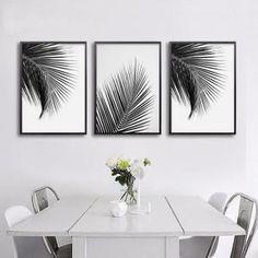Noir blanc palmier feuilles toile affiches et estampes mur art décoratifs style nordique maison décor 3 pièces art non encadré