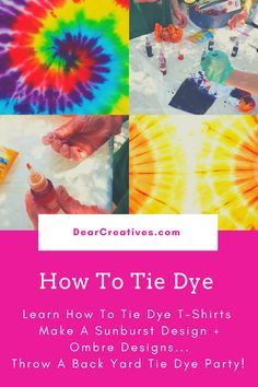 Summer Craft Ideas - Summer crafts to make. Fun ideas for every age. Adult crafts, teen crafts and kids crafts. Grab an Fun easy summer craft to try! Adult Crafts, Crafts For Teens, Teen Crafts, Tie Dye Crafts, Crafts To Make, Diy Tie Dye Shirts, Diy Shirt, Make Theme, Tie Dye Party