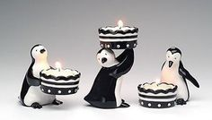 Set of 3 Penguin Votives, 4 inches tall, Midnight Sparkle Collection $20.00