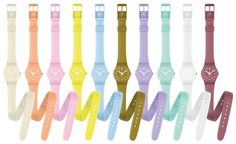 "I'm a watch lover, and couldn't walk past this ""Lady Collection"" from Swatch. Above all I admire the pleasant pastel colours, and planni. Rubber Watches, The Fox And The Hound, Color Effect, True Colors, Fashion Watches, Passion For Fashion, Diy Design, Water Bottle, Coding"