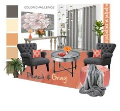 """""""Peach & Grey"""" by sana-emara ❤ liked on Polyvore featuring interior, interiors, interior design, home, home decor, interior decorating, Muuto, Jayson Home, Stupell and The French Bee"""