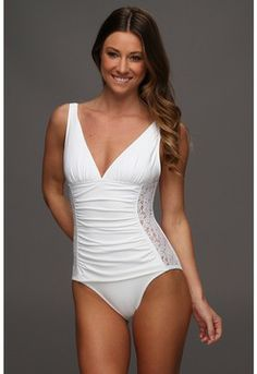 Tommy Bahama - Lace Ahoy V-Neck OTS Cup One Piece w/ Side Lace Panels (White) - Apparel on http://shopping.glamour.com