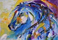 'Young Mac' Colorful Abstract Horse Equine Oil Daily Painting by Texas Artist Laurie Pace, painting by artist Laurie Justus Pace