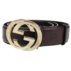 2821e4a1b GUCCI GG Supreme Buckle Silver Belt 35 Brown Leather Italy Vintage Auth  #P476 M #