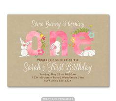 Pink Birthday Invitation, Fun to be One, Girl First Birthday Invite Baby Invitations, 1st Birthday Invitations, Bunny Birthday, Birthday Ideas, Tracy Ann, Bunny Party, Fun To Be One, Party Time, First Birthdays