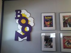 Made these comic action word signs with poster boards from the dollar store. Old room from the old house