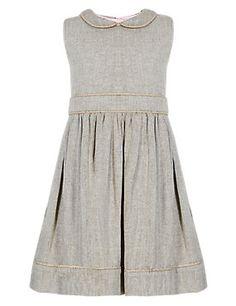 Brown Mix Pure Cotton Peter Pan Collar Tweed Dress (1-7 Years)