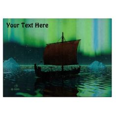 Viking Ship And Northern Lights Cutting Board - kitchen gifts diy ideas decor special unique individual customized