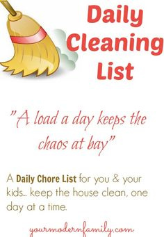 "EASY CLEANING LIST to keep your house ""under control"""