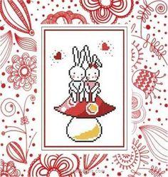 Princesse broderie en point compté tendresse de lapins