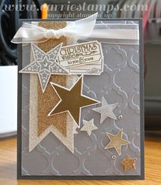 By Carrie Rhoades  #stampinup #stars #christmascard-do colours and placements but with snowflake embossing folder and snowflake dies