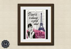 Paris Is Always A Good Idea AUDREY HEPBURN QUOTE Vintage Dictionary Art Print Wall Decor Wall Art Home Decor Eiffel Tower France French on Etsy, $8.50