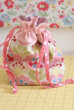 This drawstring tote would be cute to put a Small birthday gift in, instead of a gift bag.