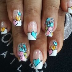 u aselegantes manicure manicure uas cortas Cute Nails, Pretty Nails, Valentine Nail Art, Accent Nails, Almond Nails, Toenails, French Tip Nails, Nail Arts, Manicure And Pedicure