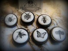 Bouton de meuble Papillon (porte ou de tiroir )en bois et terre cuite émaillée (Véritable céramique cuite : Accessoires de maison par mineral