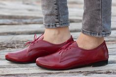 Free Shipping Red Leather Shoes Red Oxford Shoes por BangiShop