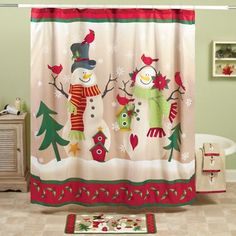 Country Snow Couple Shower Curtain from Collections Etc.