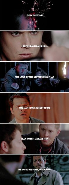 — He saved me first, you know - Great Love Stories, Love Story, Dean And Castiel, Dean Winchester, Good Omens Book, Supernatural Destiel, Cartoon Tv, Super Natural, Frases