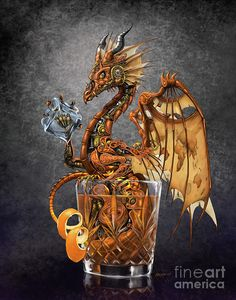 Steampunk themed Old Fashioned drink dragon. Old world map pattern on wings. Tiny Dragon, Dragon 2, Fantasy Dragon, Steampunk, Fantasy Creatures, Mythical Creatures, Old Fashioned Drink, Dragon Artwork, Dragon Print