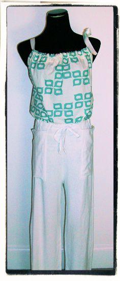 Pillowcase Shirt. Organic Cotton Shirt Teal and White by jennipink, $40.00