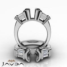 Diamond 3 Stone Engagement Bezel Ring Baguette Round Mount 14k White Gold 0.4Ct
