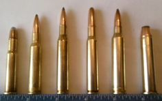Some of the most well-known rifle cartridges to American sportsmen and women. From left to right: .30-30 Winchester, 7mm Mauser, .270 Winchester, .30-06, 7mm Remington Magnum, .45-70.