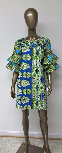 AYAWAX Collection. African Print Shift Mini Dress. Tiered Bell Sleeves. Lattice Work Yoke . Handmade. Womens. This is a beautifulAfrican Print Shift Mini Dress. Tiered Bell Sleeves. Lattice Work Yoke . Ankara | Dutch wax | Kente | Kitenge | Dashiki | African print dress | African fashion | African women dresses | African prints | Nigerian style | Ghanaian fashion | Senegal fashion | Kenya fashion | Nigerian fashion | Ankara crop top (affiliate)