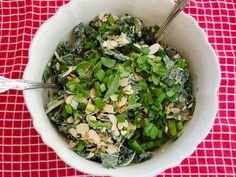 Raw Kale Salad With Creamy Almond Dressing | So... Let's Hang Out  My neighbor made this and it was GOOD!