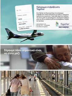 """""""Together"""", the new reward program by Travelair Club, offers our passengers family members' or friends' the possibility to collect miles, into a common account and enjoy the high quality products and services offered by Olympic Air as well as Travelair Club partners."""
