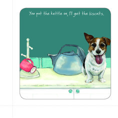 Almost too wonderful to cover with a mug or glass, this coaster makes an ideal gift for a new home or just as a 'pop in the post' thought. Dog Lover Gifts, Dog Lovers, Jack Russell Dogs, Little Dogs, Kettle, Coasters, Water Rings, Pop, Mugs