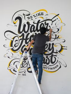 Be like water, hops, barley, yeast. Loving this mural by on Inspirationde Types Of Lettering, Lettering Design, Hand Lettering, Mural Art, Wall Murals, Graffiti, Typographie Inspiration, Typographie Logo, Hand Drawn Type