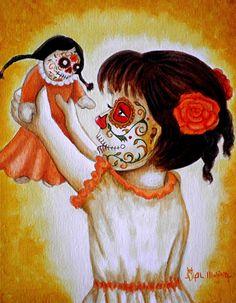 Bailando Con Mi Muneca  by Al  Molina - Bailando Con Mi Muneca  Painting - Bailando Con Mi Muneca  Fine Art Prints and Posters for Sale