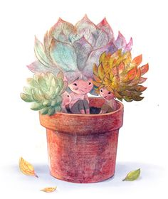 Syd's illustrations - I'm fairly certain my succulents gossip when I'm not around.