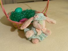 Soft Pink and Green Plush Bunny with Crocheted Dress by thecrafter, $13.00
