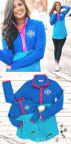 You will be oh so comfy in this monogrammed fleece pullover! Stand out and stay warm in this blue, teal, and hot pink detailed, button up, personalized pullover tunic. This pullover is tunic length and pairs perfectly with a pair of leggings and monogrammed duck boots!