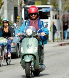 Zach Galifianakis on a scooter. | #celebrities #riders #bikers