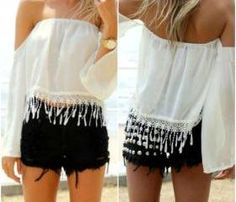 Gorgeous Lace and Chiffon Tassel Design Off Shoulder White Top 22.99