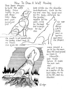 How to draw a wolf howling printable worksheet.